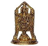Purpledip Hindu Religious Tirupati Balaji Venkateswara Full Statue: Sculpted in Solid Brass Metal for Home Temple, Office Table or Shop Puja Shelf | Hindu Religious Gift (10378)