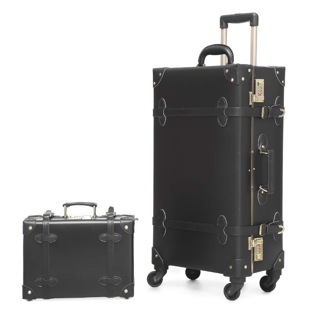 5d5e942560e8 Travel Vintage Luggage Sets Cute Trolley Suitcases Set Lightweight Trunk  Retro Style for Women Nakajima Black 20