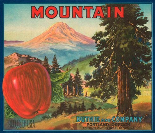 MOUNTAIN APPLE PORTLAND OREGON USA FRUIT CRATE LABEL PRINT REPRODUCTION