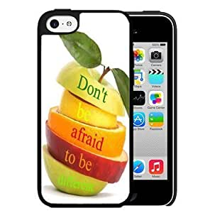 MMZ DIY PHONE CASEDon't Be Afraid to be Different Quote on Colorful Fruit Slices Piled on Top Hard Snap on Cell Phone Case Cover iphone 6 4.7 inch