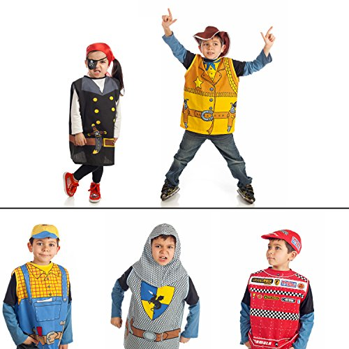 Set of 5 dress up boys Costumes 1 Car racing 2 Knight 3 Cowboy 4 Worker 5 (Cowboy Costume For Boy)