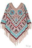 ScarvesMe Western Pattern Knit Poncho (Beige)