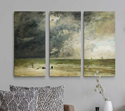 WEXFORD HOME The Beach at Trouville Claude Monet 3 Panel Gallery Wrapped Canvas Wall Art