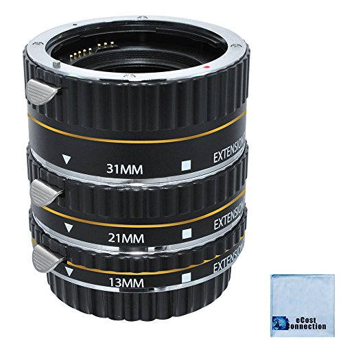 eCostConnection Auto-Focus Macro Extension Tube Set for Canon 5D Mark II, Mark III , 6D, 70D, 7D, 60D, Rebel T2i, T3i, T4i, T5i, SL1 Cameras & Microfiber - Viewfinder 21mm