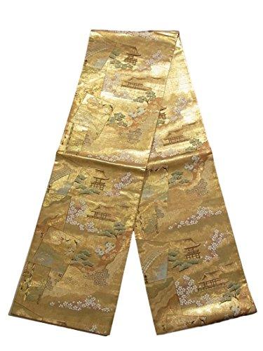 主に不道徳ブランドリサイクル 袋帯 地紙に平安貴族 古典柄 正絹 六通