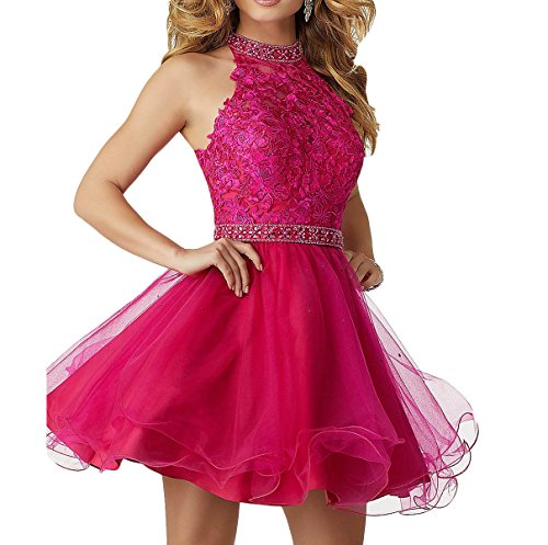 Udresses Juniors High Neck Lace Homecoming Dresses Beaded Prom Dress Short DD60 Magenta US 12
