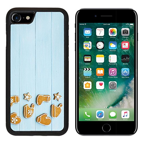 MSD Premium Apple iPhone 7 iPhone7 Aluminum Backplate Bumper Snap Case IMAGE ID: 32513746 Christmas gingerbread cookies on the blue background Viewed from above