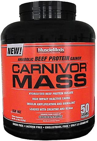 Carnivor Mass Anabolic Beef Protein Isolate Gainer Chocolate Fudge 12 Servings