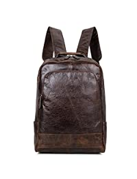 Hermiona Genuine Cow Leather Men's Leather Backpack Laptop School Bag