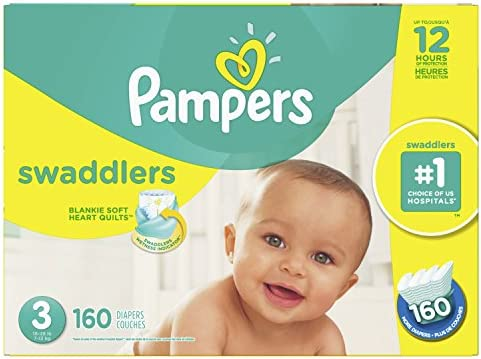 Pampers Swaddlers Size 3 Disposable Baby Diapers, 160 Count, Economy Pack Plus