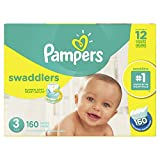 Pampers Swaddlers Disposable Baby Diapers Size 3, Economy Pack Plus, 160 Count