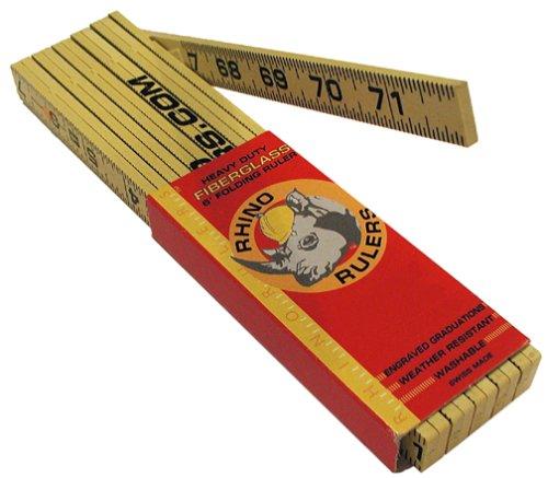 Rhino Rulers Folding Outside Reading Carpenter's Ruler 6' Length - 55140 ()