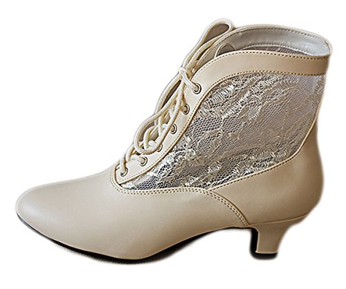 Vintage Style Bridal Wedding Bohemian Lace Up Marie Antoinette Ankle Women Booties