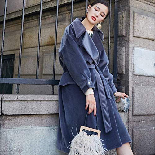 Coat Ceinture Mode Warm Femme Haute Blau Elégante Outerwear Battercake Loisir Manteau Fashion Manches Boutonnage Double Parka Revers De Trench Hiver Longues Chic Avec Vintage Épaisseur Qualité FWqw5OzSq