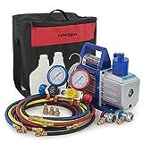 digital ac gauges r22 r134 r410a - ARKSEN 5CFM Air Vaccum Pump HVAC Refrigeration AC Manifold Gauge Set R410 R22 R134 R407C