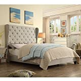 Rosevera Olympia Tufted Upholstered Bed with Nailhead Wingback