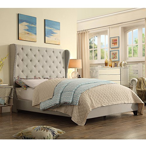 picture of Rosevera Olympia Upholstered Bed - Nailhead Wingback