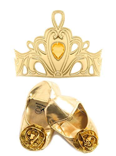 Little Adventures Gold Tiara and Shoe Princess Accessory Bundles for Girls - Shoe Size 11/12 (Sparkly Dresses For Little Girls)