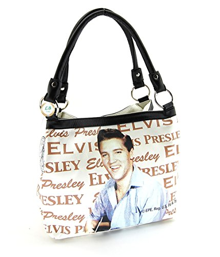 Two Faux Style Presley Purse Medium Beige Leather Elvis Sig Way 7813 6XwFqZ