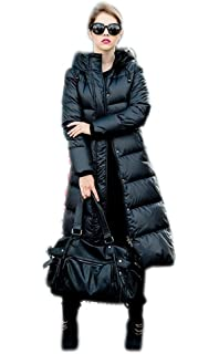 Queenshiny Women s Long 100% Goose Down Coat Padded Jacket Outwear Thick  Warm Winter Colorful Black f4e7686fe