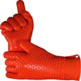 Verde River Products Silicone Heat Resistant BBQ Grilling Gloves - Best Protective Insulated Kitchen - Oven – Grill – Baking - Smoker & Cooking - Waterproof Grip - Replace Potholders & Mitts RUST RED
