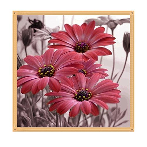 Botrong 5D DIY Diamond Painting Embroidery Cross Craft Stitch Home Decor Art - Partial Drilling - 35X35CM/13.78X13.78 Inch (Daisy) (Red) ()
