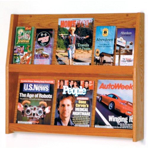Wooden Mallet Slope 12-Pocket Literature Display, Medium Oak