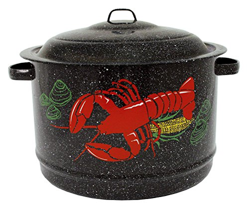 Granite Ware 19-Quart Decorated Lobster Pot, Black
