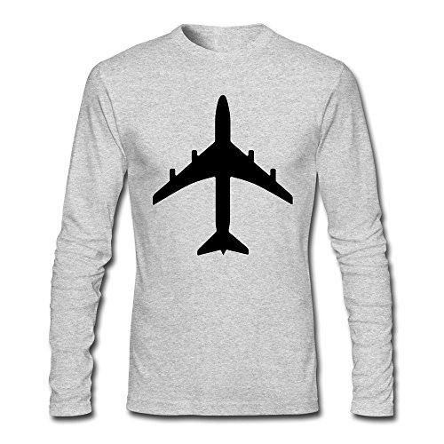 Men's Passenger Jet Plane Like The 747 Or Airbus Long Sleeve T Shirt Gray for $<!--$17.43-->