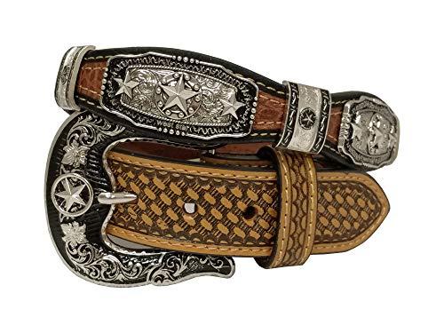 West Star Silver Crocodile Stylish Genuine Leather Cowboy Pattern Emboss 1.5 Inches Width Belt