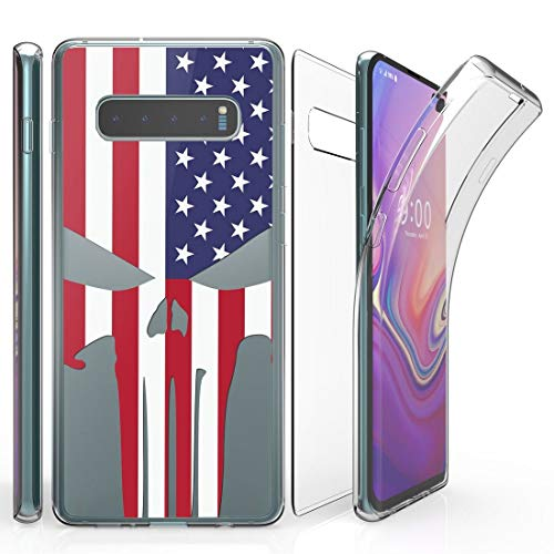 Beyond Cell Tri Max Series Compatible with Samsung Galaxy S10+ Plus, Slim Full Body Coverage Case with Self-Healing Flexible Gel Transparent Clear Screen Protector Cover - American Skull Flag