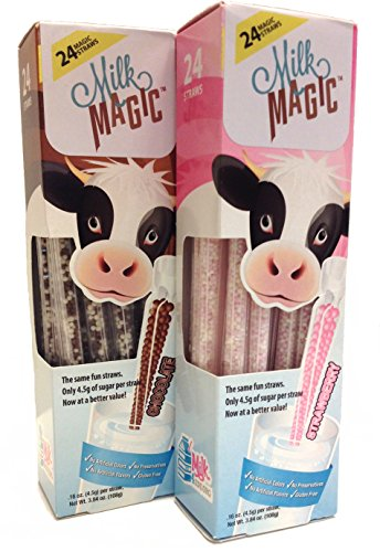 River Chocolate Milk (Strawberry & Chocolate Magic Milk Fun Straws 24 Each (2pk))