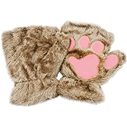 Tinksky Winter Plush Mittens Short Fingerless Gloves Cute Cat Claw Dog Paw Half Finger Gloves Christmas Birthday Gift for women girls (Khaki)