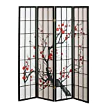 4 panel Cherry Blossom Design Room Divider, 4-PANEL, BLACK