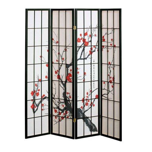 Superieur 4 Panel Cherry Blossom Design Room Divider, 4 PANEL, BLACK