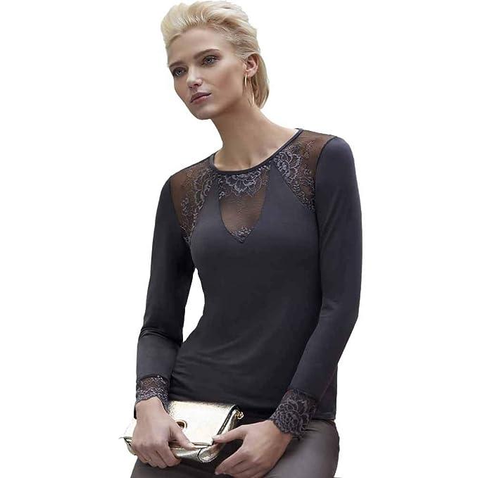 JANIRA Camiseta Manga Larga con puntilla Greta CC 418 - Negro d8ab93802611