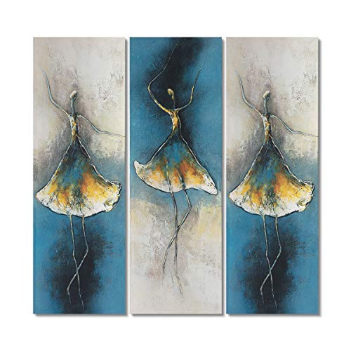 (Gold Orange Oil Paintings Ballet Dancer Girl Modern Large 3 Panels Home Decor Wall Art Painting Wood Inside Framed Hanging Wall Decoration 100% Hand Painted Stretched Oil Paintings (10x30inchx3pcs))