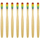 Genkent Natural Bamboo Toothbrush Made with Rainbow Nylon Infused Bristles in Recycled Biodegradable Packaging (8 Counts)
