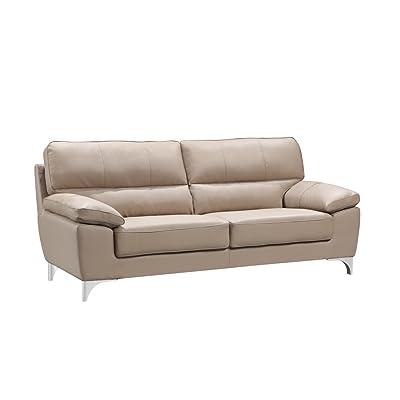 Blackjack Furniture 9436-BEIGE-S Sofa Leather Match Livingroom Sofa, Beige, 1 Piece