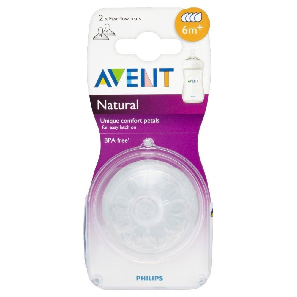 Avent Natural Teat - Fast Flow 4 Hole 6mth+ (2) - Pack of 6