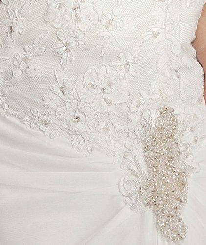 GEORGE BRIDE Slight Sweetheart Chiffon Chapel Train Beach Wedding Dress With Lace Bodice Size 8 White