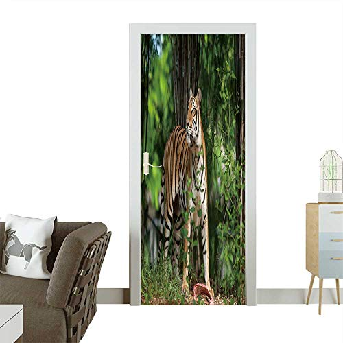 Decorative Door Decal Tiger Eating a Chunk of Meat on The Ground Stick The Picture on The Door W31 x H79 INCH