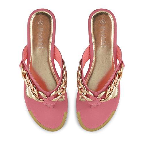 Footwear Sensation - Sandalias con cadena dorada mujer Negro - rosa