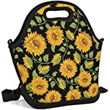 Women&Men&Kids Neoprene Lunch Tote Bag Insulated Lunch Box with Shoulder Strap Leak-Proof Lunch Organizer for Picnic/Office/Beach/School/Work (sunflower) ...