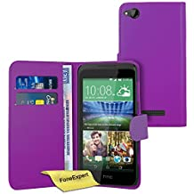 HTC Desire 320 Case, FoneExpert® Premium Leather Flip Book Wallet Case Cover For HTC Desire 320 + Screen Protector & Cloth (Purple)
