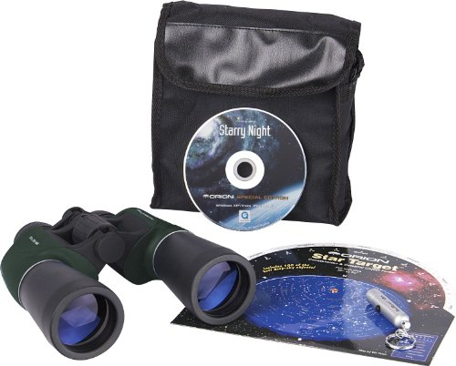 Stargazer Kit (Orion 10x50 Binocular Stargazing Kit with RedBeam Mini LED Flashlight (Green))