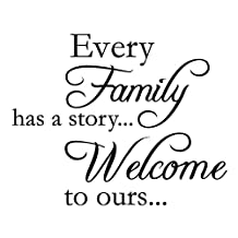 """Every Family Has A Story...Welcome To Ours Vinyl Wall Quotes Stickers Sayings Home Art Decor Decal (17"""" Wide * 13"""" High) Matte Black"""
