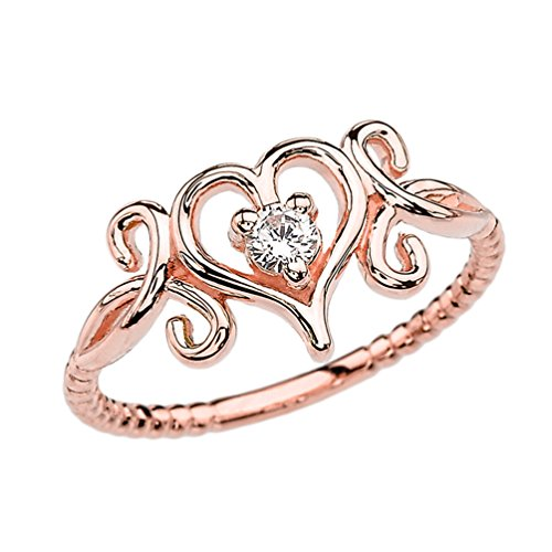 Gold Diamond Open Heart (Diamond Open Heart Promise Ring Collection in 10k Rose Gold Rope Design (Size 7))