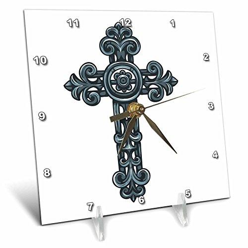 TNMGraphics Faith - Ornate Christian Cross - 6x6 Desk Clock (dc_56038_1) by 3dRose