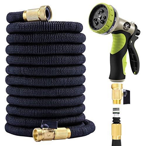 (Flexible Garden Hose 50 Ft - Nozzle 9 Settings, 12 Months Warranty, 3/4